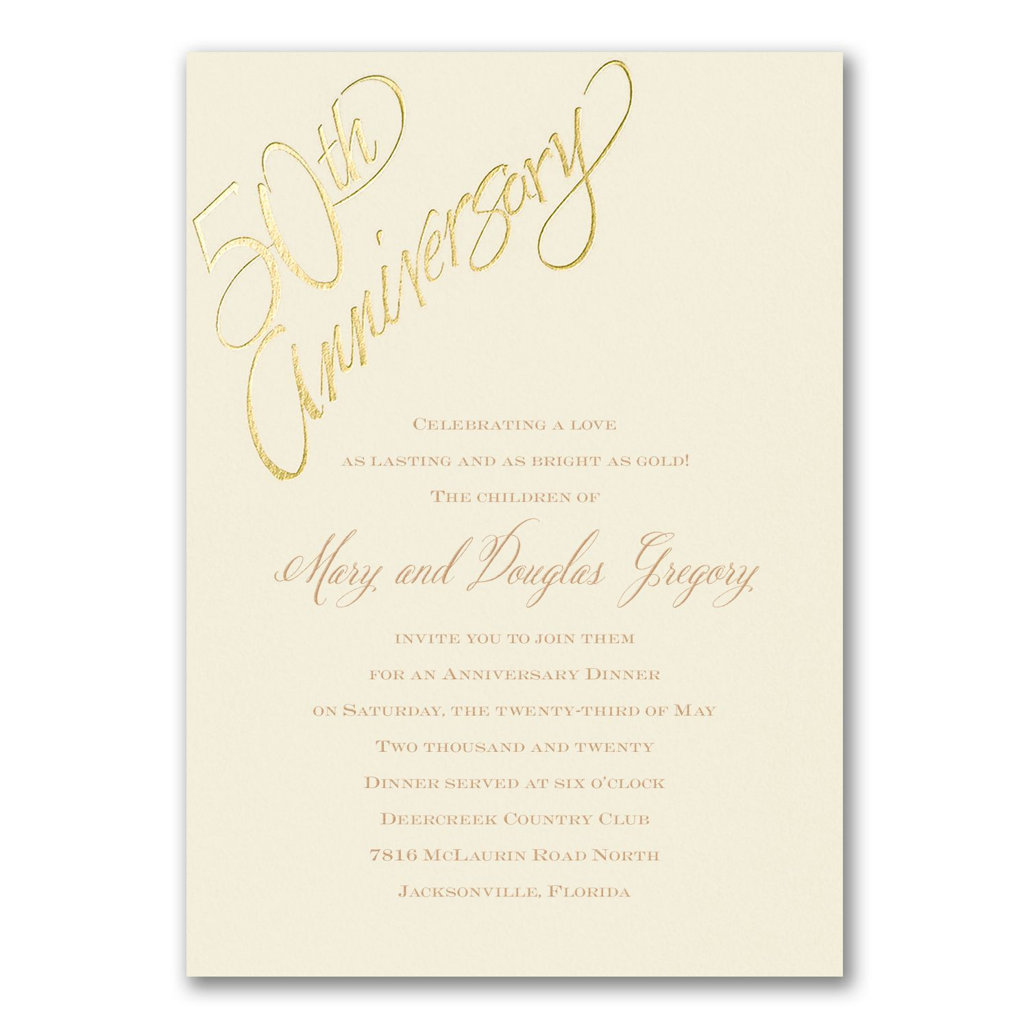 Ivory 50th Anniversary party invitations with gold foil design ...