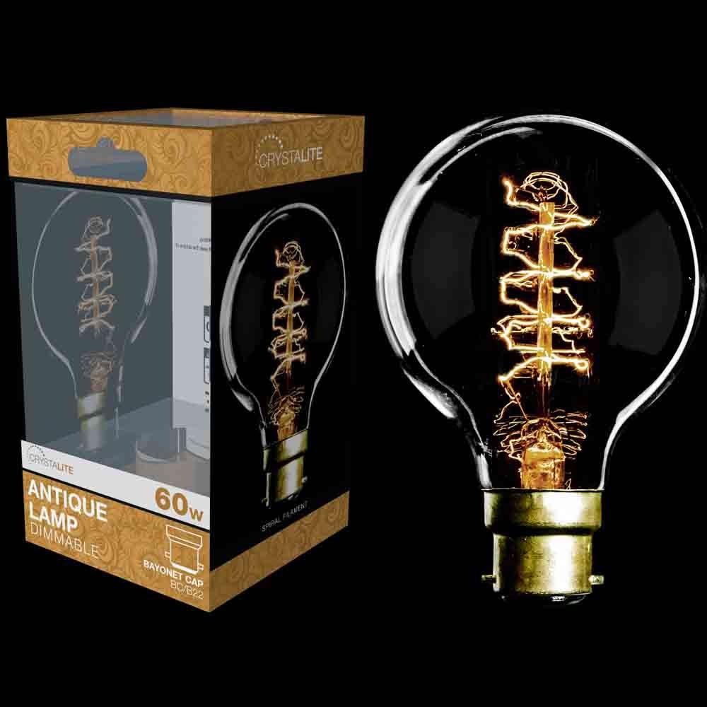 Crystalite 60w Antique Lamp G80 Globe BC cap Spiral