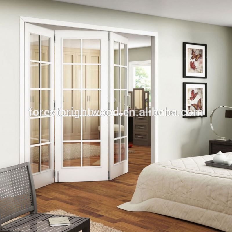 White Double Clear Glass Soundproof Accordion Doors Buy Soundproof
