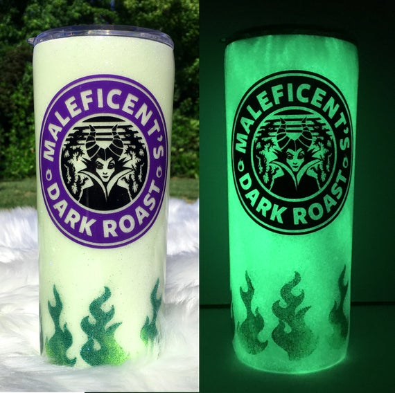 Maleficent Glow-in-the-Dark 20oz Glitter Tumbler   Etsy   Glitter tumbler,  Tumbler cups diy, Diy cups