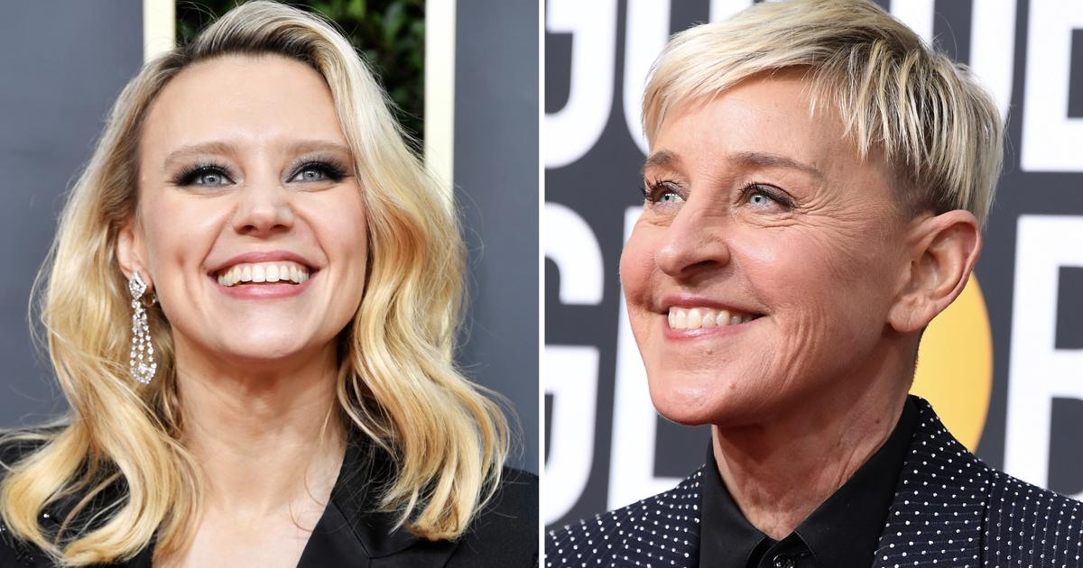 Kate Mckinnon Honors Ellen Degeneres With Teary Speech At The 2020 Golden Globes In 2020 Kate Mckinnon Degeneres Ellen Degeneres