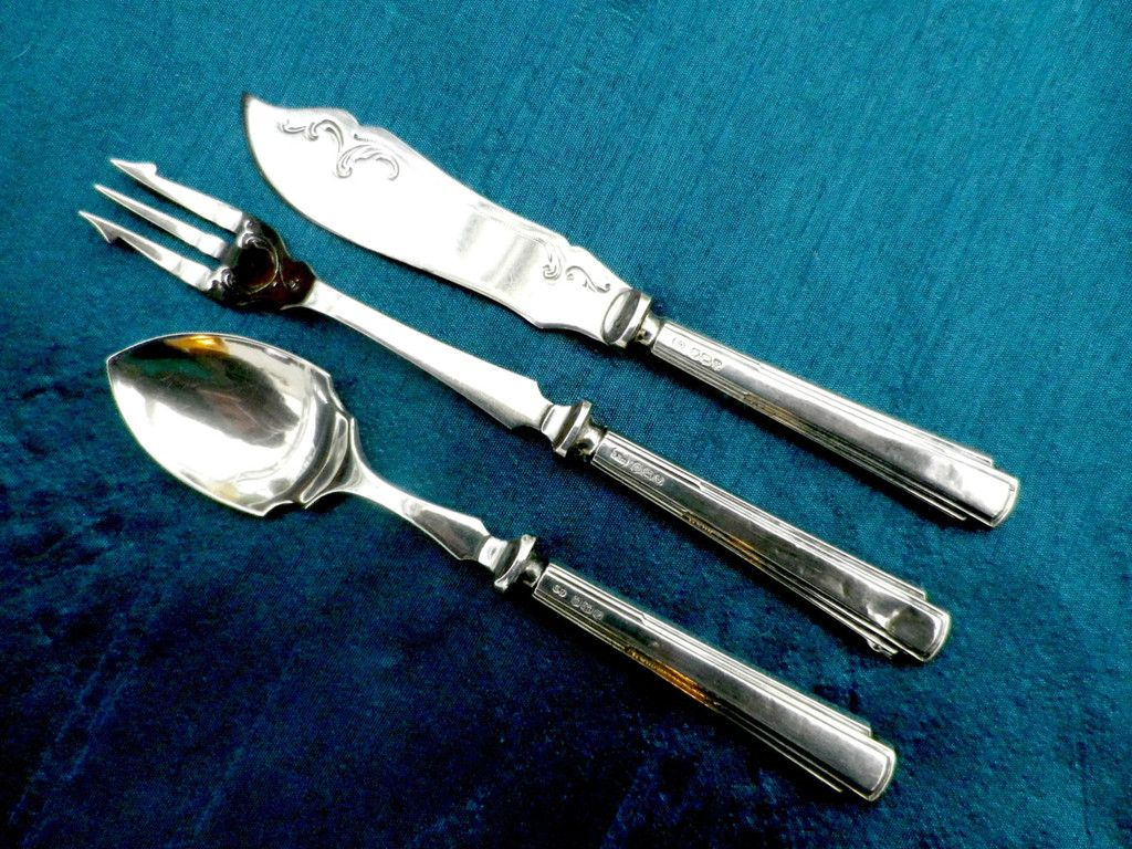 Silver handled jam spoon, butter knife & pickle fork. hallmarked ...