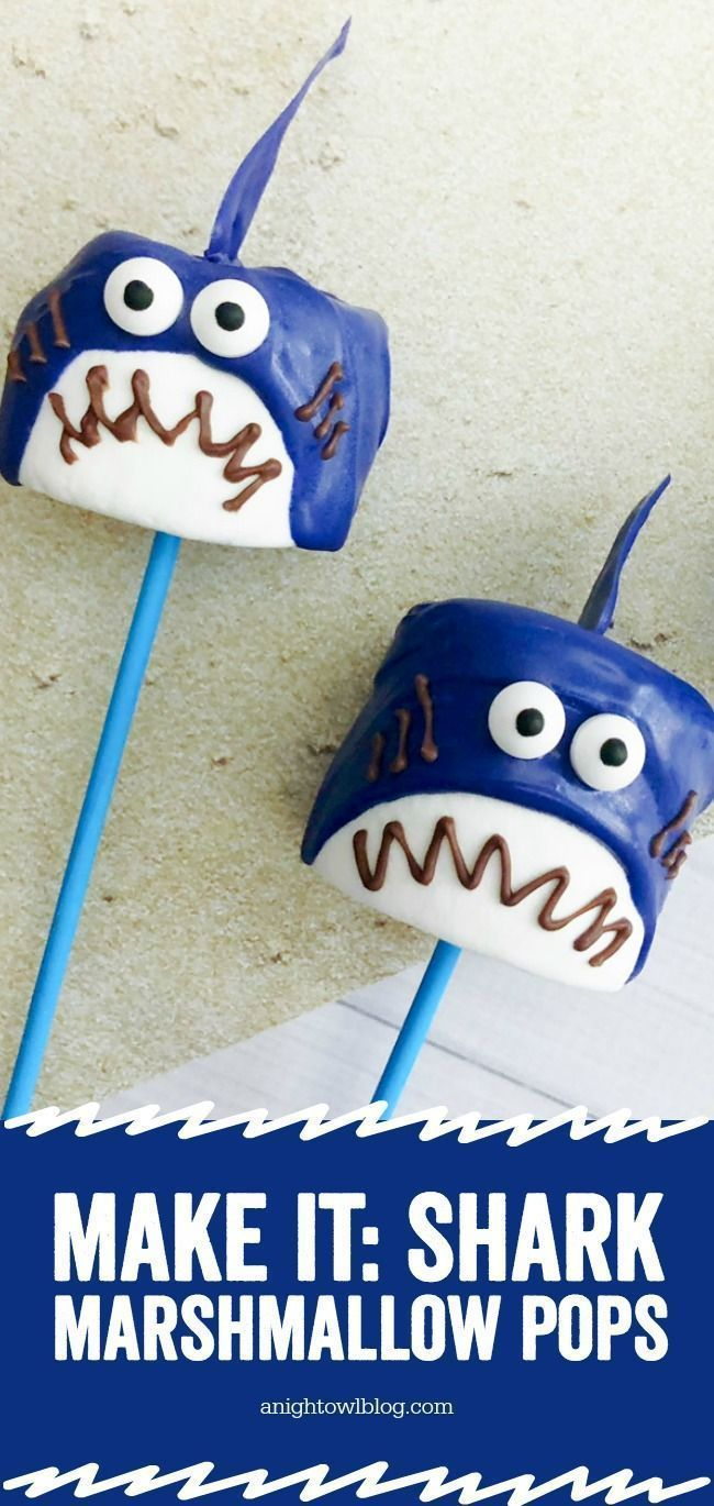 Shark Marshmallow Pops | A Night Owl Blog
