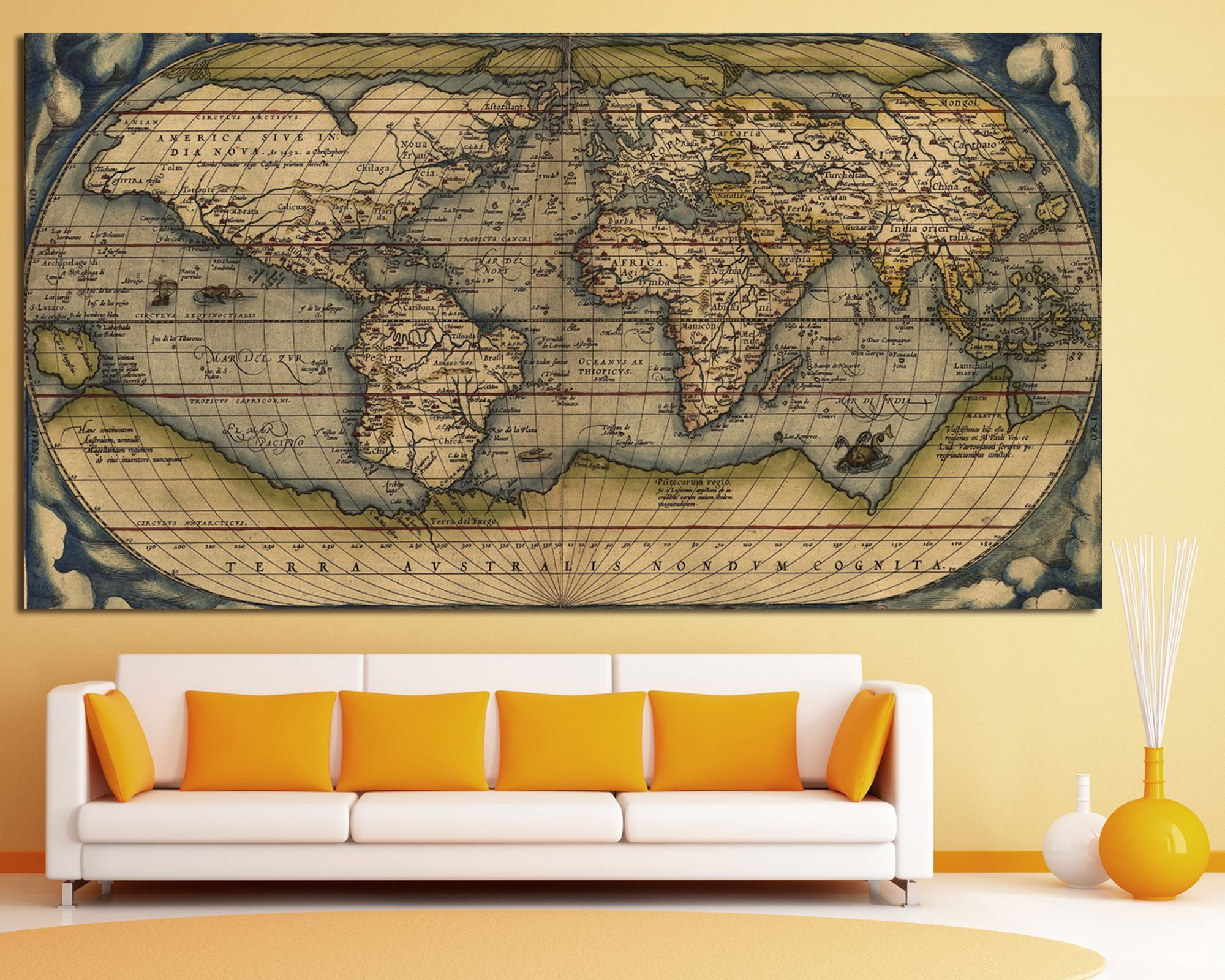 Buy now Antique world map wall art