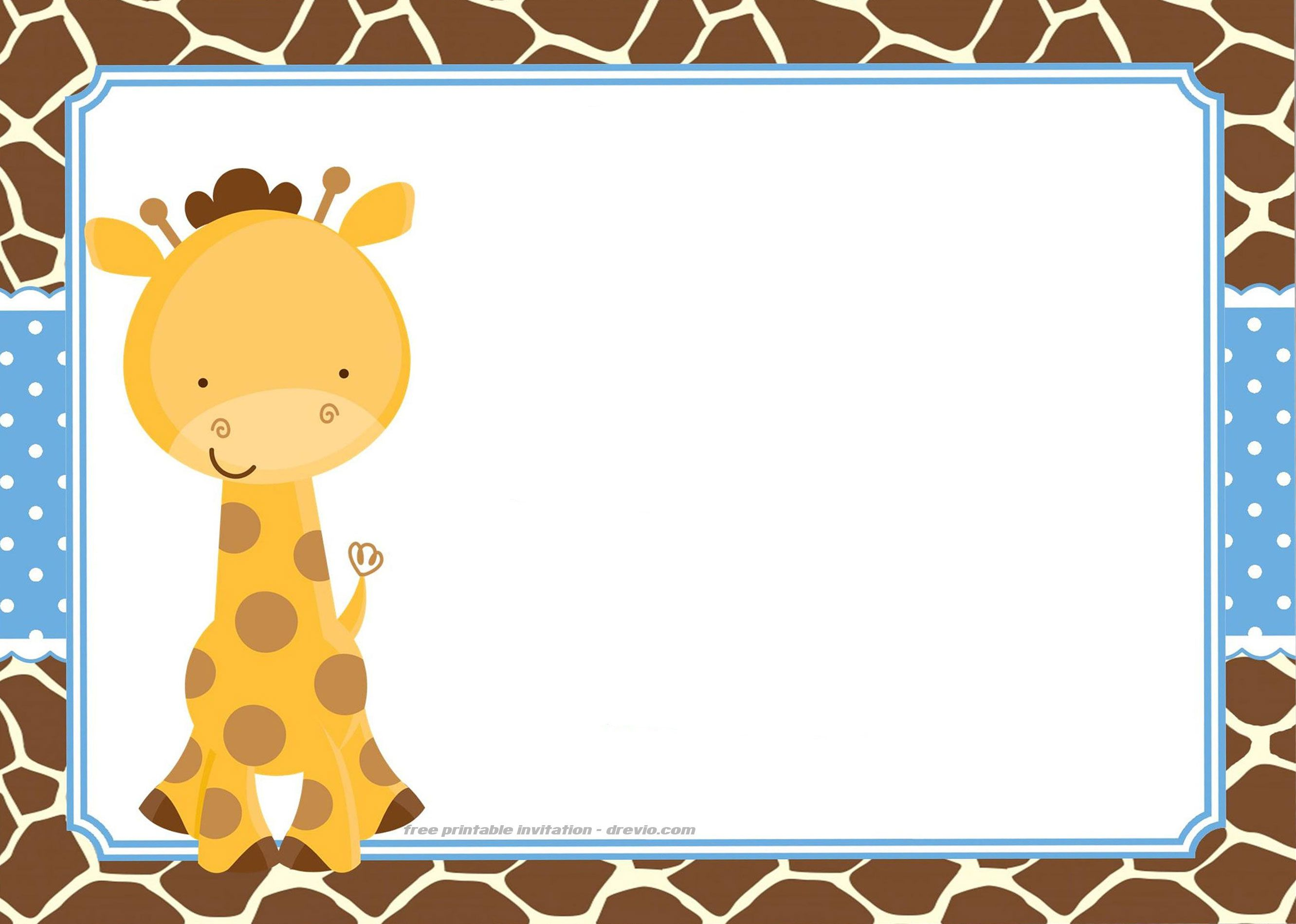 free giraffe birthday and baby shower invitation templates free