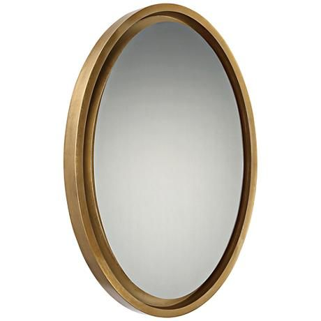 hang this subtly elegant oval shape gold leaf wall mirror either rh pinterest com