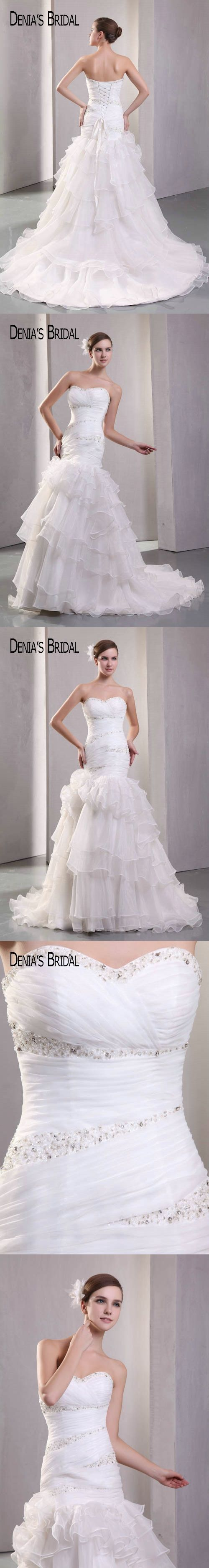 Mermaid ruffle wedding dress  Real Photos Sweetheart Beaded Pleats Mermaid Wedding Dresses Ruffles