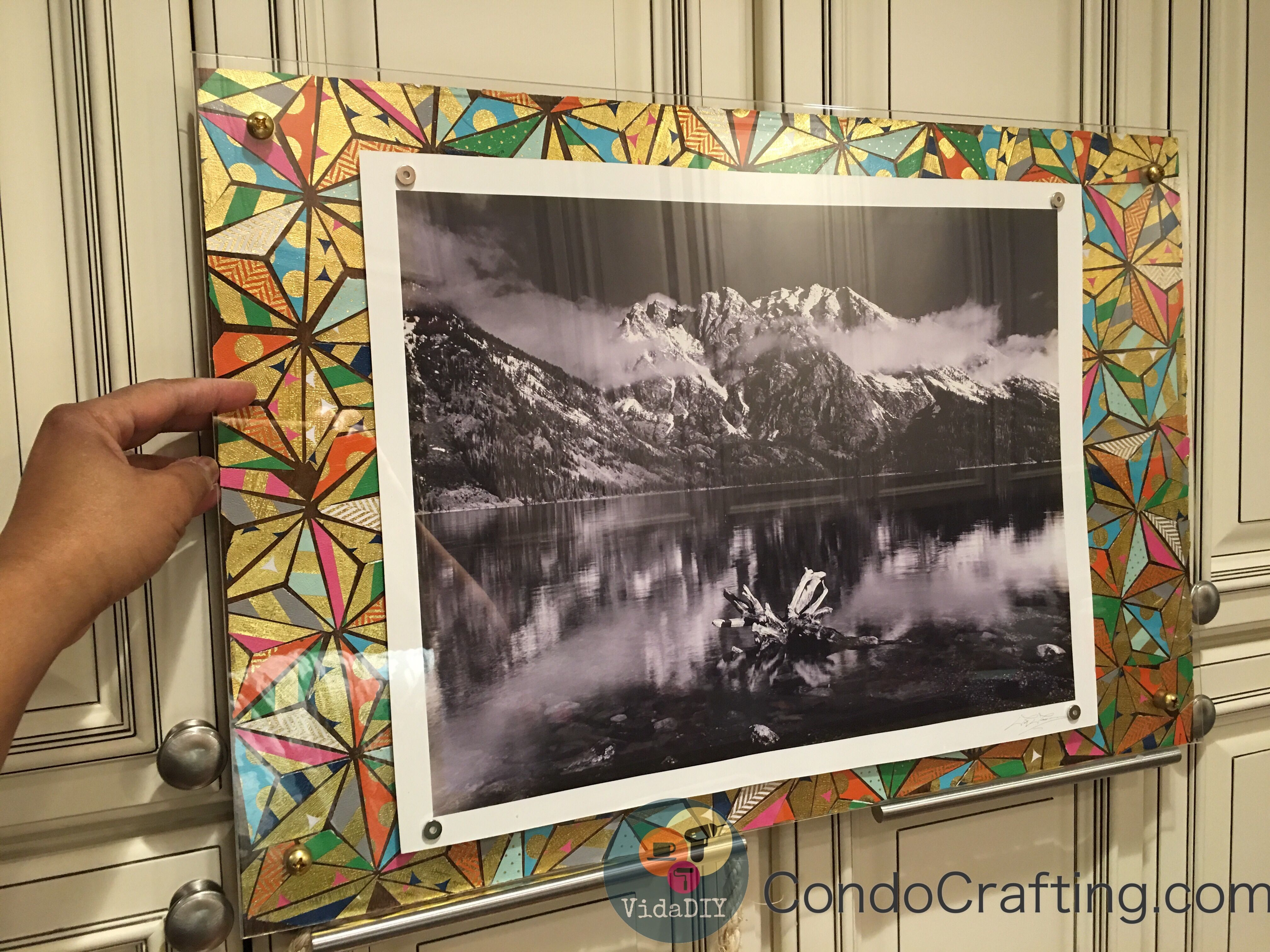 Diy decorated floating frame using 16 x 24 plywood and colorful diy decorated floating frame using 16 x 24 plywood and colorful gold foil textured cards jeuxipadfo Image collections