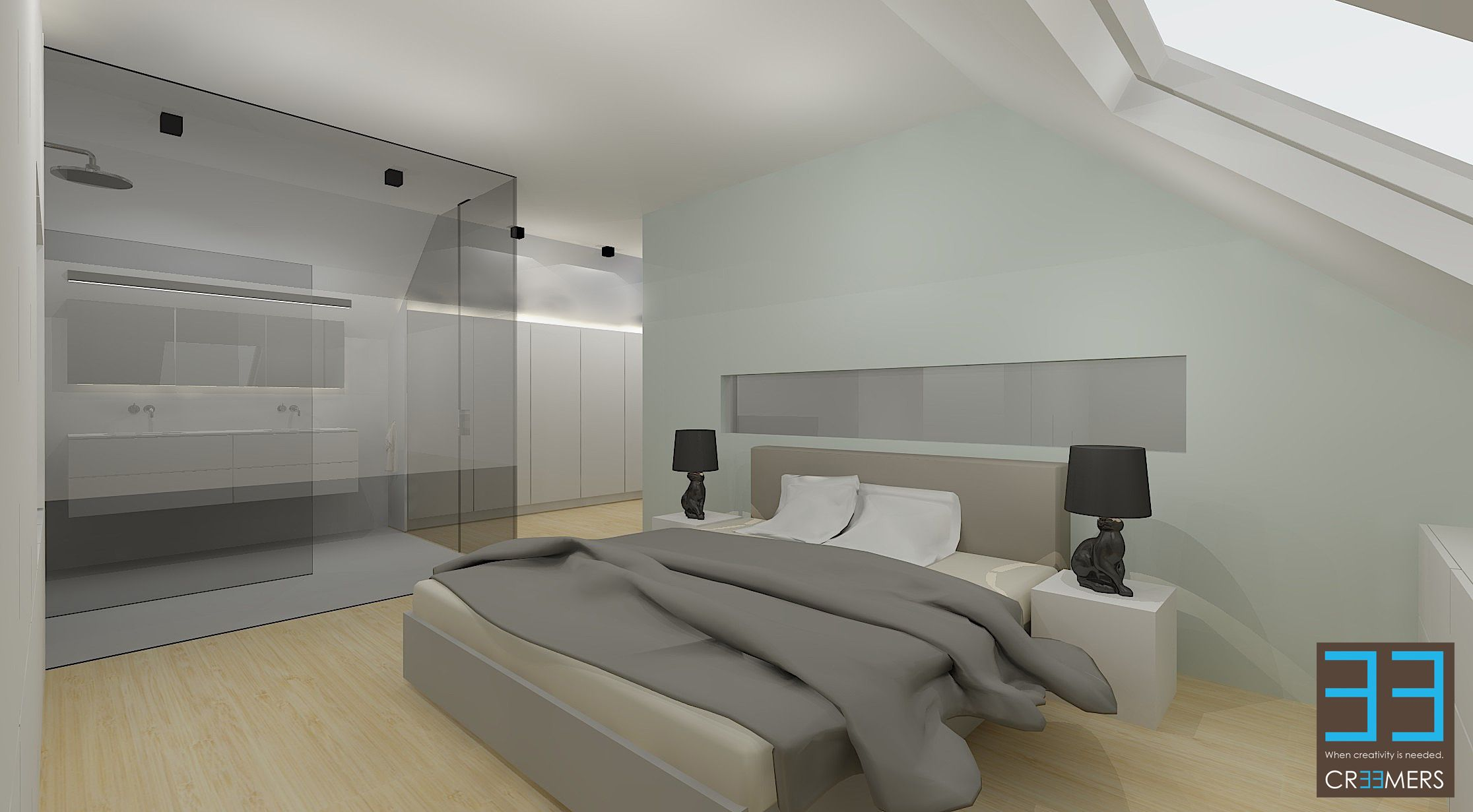 Slaapkamer met maatkasten en ingewerkte tv. Indirecte verlichting ...