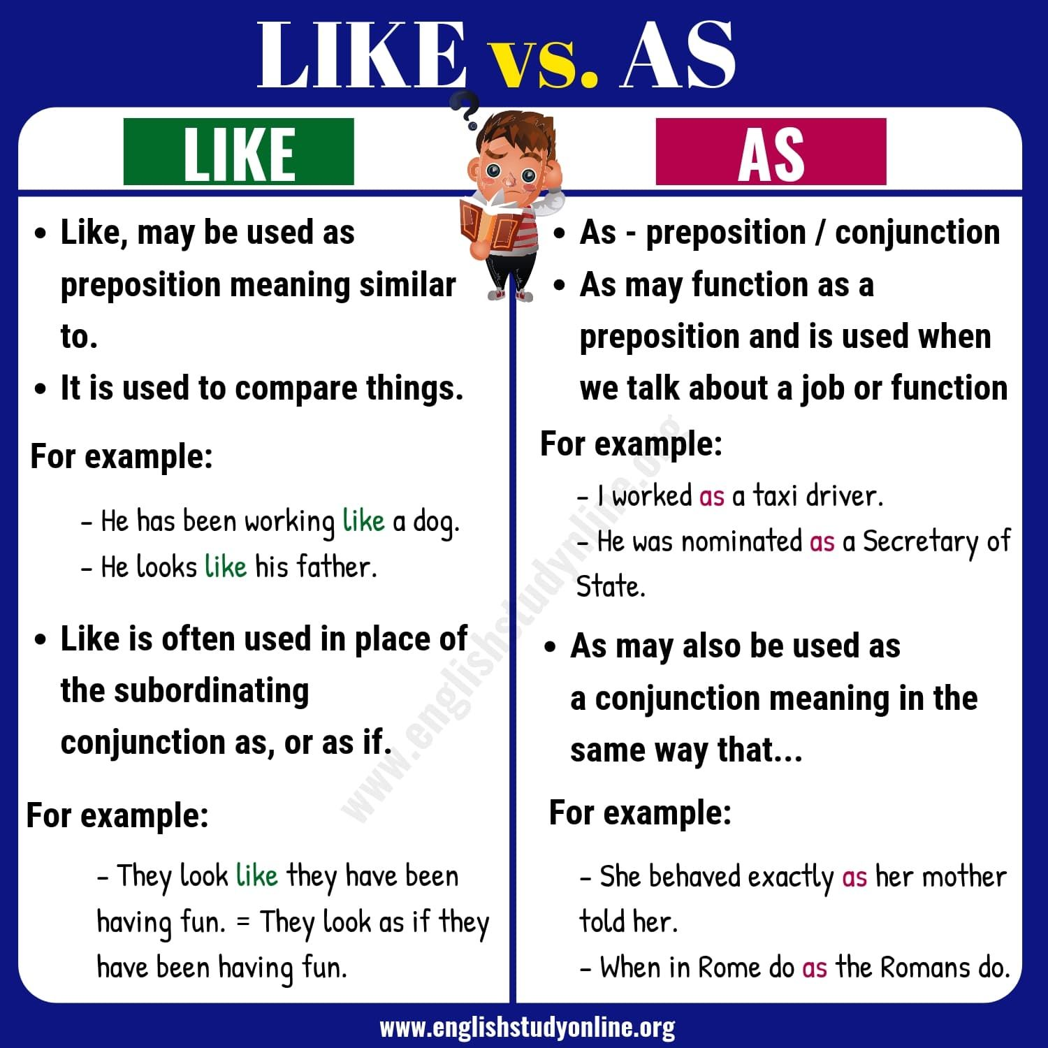 Like Vs As What Is Difference Between Like Vs As Aprender
