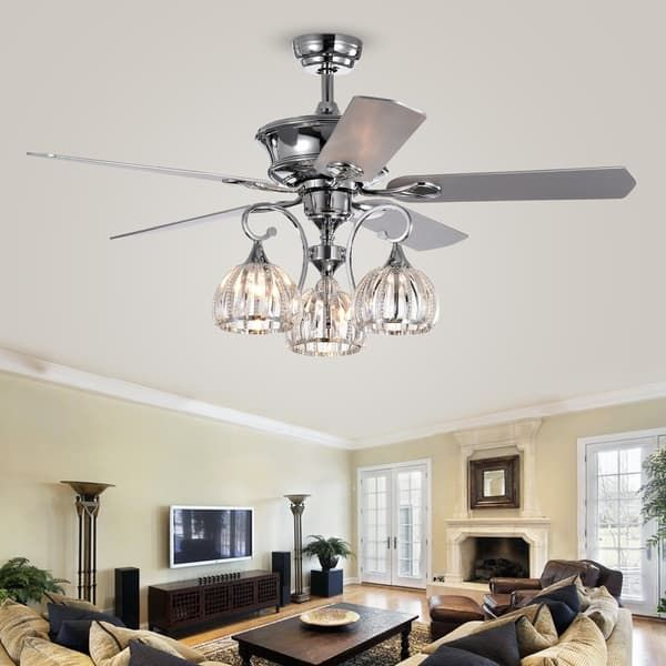 mavyn 5 blade 52 inch chrome ceiling fan with 3 light crystal rh pinterest com