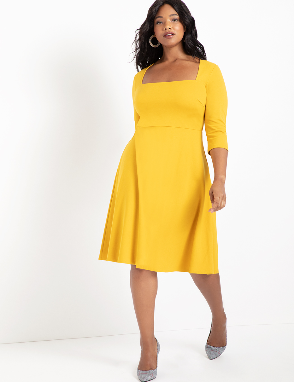 3 4 Sleeve Fit And Flare Dress Women S Plus Size Dresses Eloquii Plus Size Dresses Fit And Flare Dress Fit Flare Dress