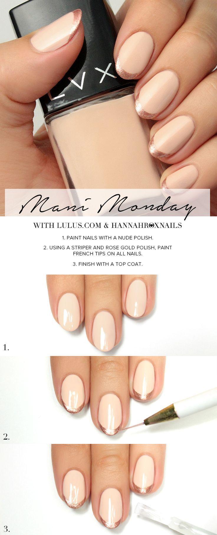 Mani Monday: Rose Gold French Tip Nail Tutorial | Pinterest ...