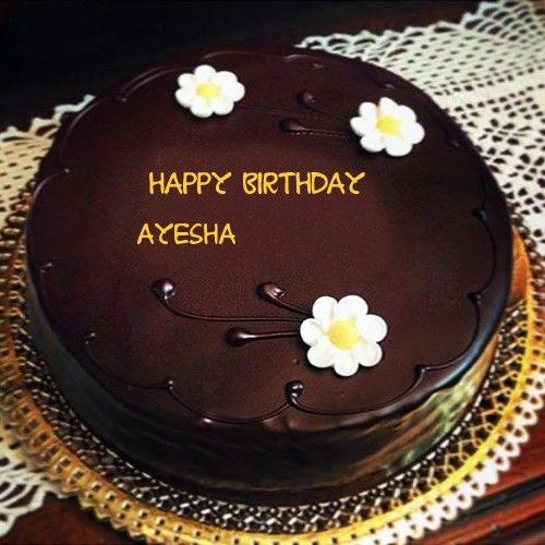Beautiful Flowers With Chocolate Birthday Ayesha Name Wishes Cakes