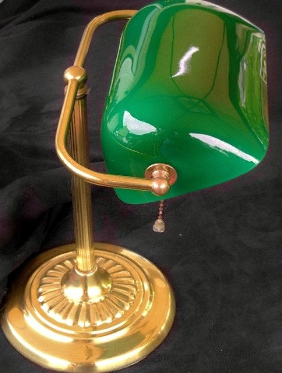Vintage Desk Lamp Brass Green Glass Shade by RustbeltTreasures, $58.00 - RESERVED For Mr. Hamilton Vintage Desk Lamp, Brass, Green Glass
