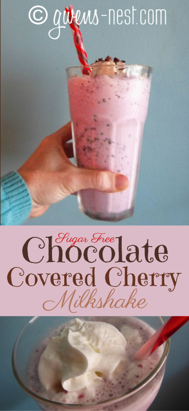 Chocolate Covered Cherry Shake [S] chocolate covered cherry milkshake- it takes JUST like the real deal, but it's totally sugar free and low ocolate covered cherry milkshake- it takes JUST like the real deal, but it's totally sugar free and low carb.
