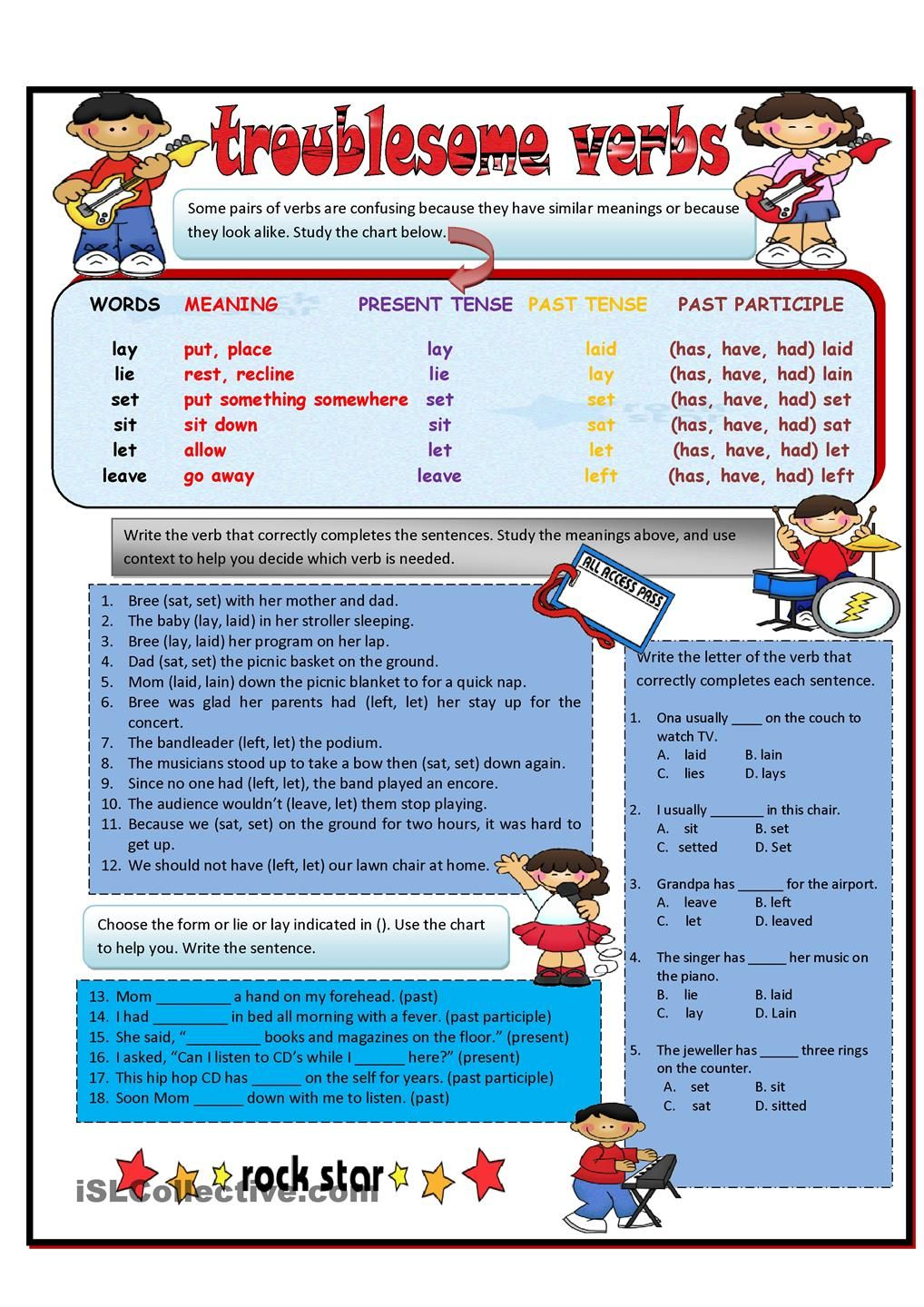 Troublesome Verbs Part 1 Lay Lie Set Let Leave Grammar And Vocabulary Verb Teaching English [ 1440 x 1018 Pixel ]