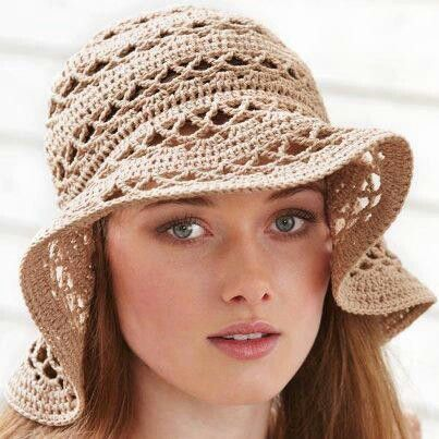 Crocheted floppy hat - this might be a fun spring project -  - - DARN DARN DARN - only a pic - no pattern