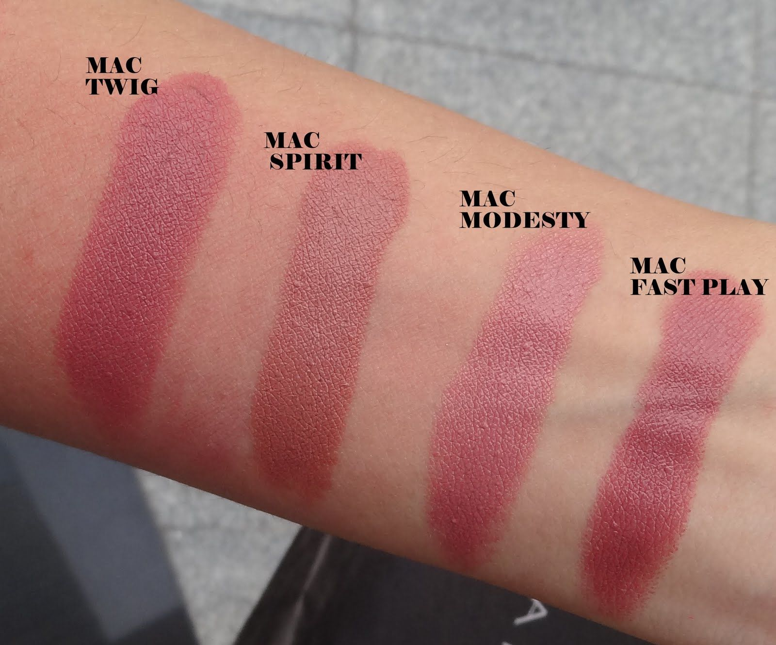Mac Lipstick Swatches: Twig, Spirit, Modesty, Fast Play | Hair and ...