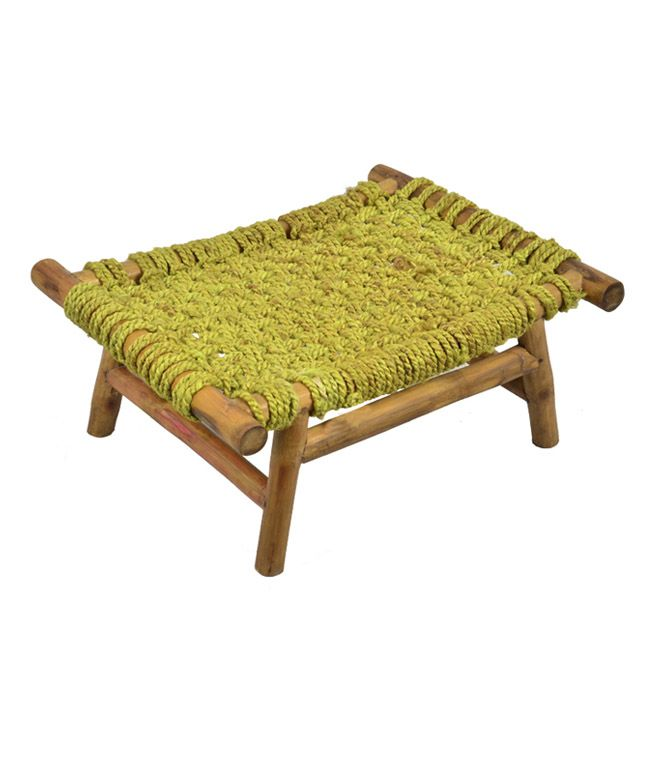 BRAND: Fabslane CATEGORY: Bamboo Woven Chowki COLOUR: Brown and Lime MATERIAL: Bamboo and Jute DIMENSIONS: 16.5 x 12.6 x 7 inches (L x W x H)