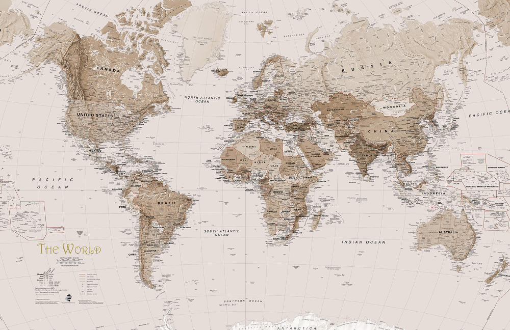 Earth Tone World Map Wallpaper Mural