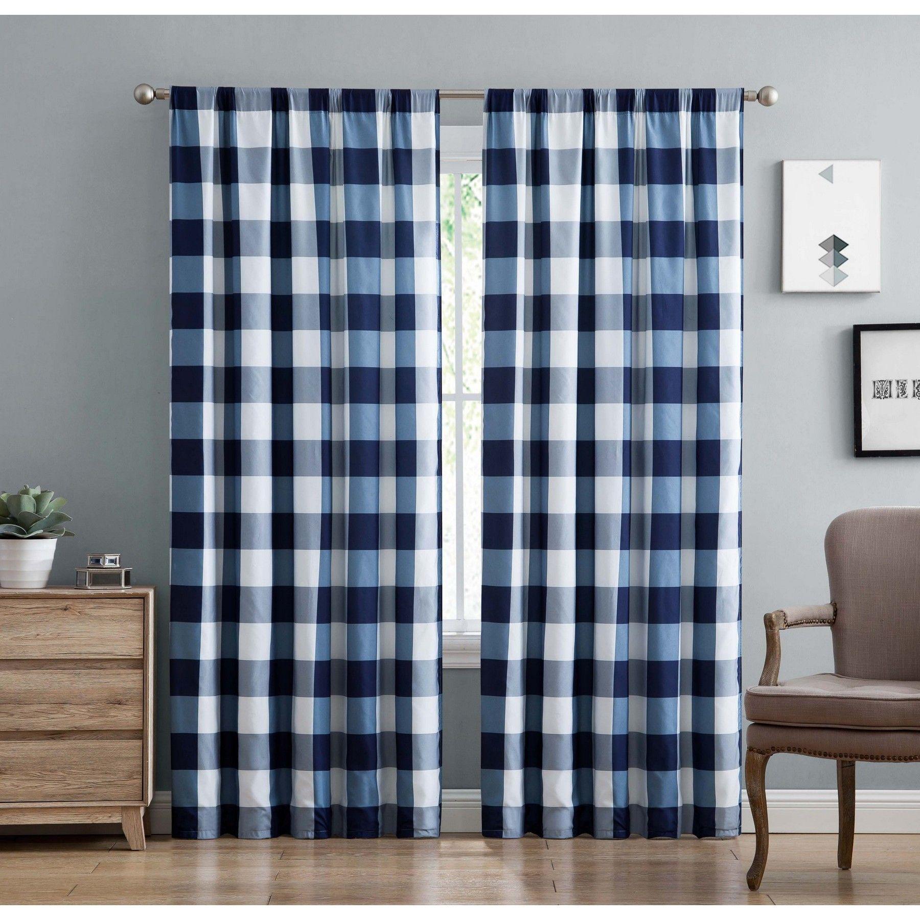 Truly Soft Everyday Buffalo Plaid Gray Drape Set Walmart Com In 2020 Panel Curtains Plaid Curtains Curtain Decor