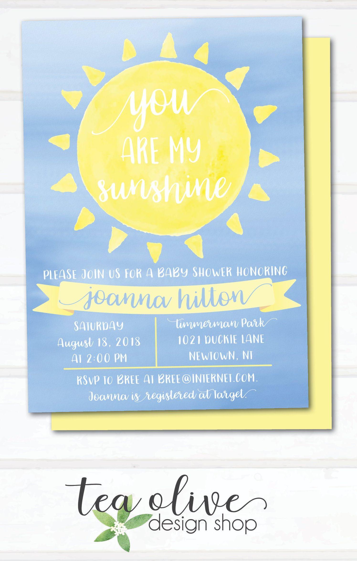 You Are My Sunshine Baby Shower Invitation Gender Neutral Etsy Sunshine Baby Shower Invitations My Little Sunshine Baby Shower Sunshine Baby Showers