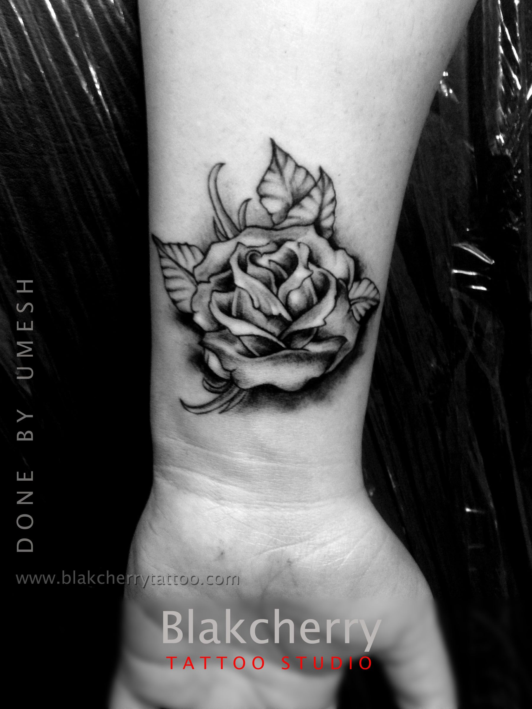 8a99089d7 Black and gray flower rose tattoo done by Umesh | Tattoo and art ...