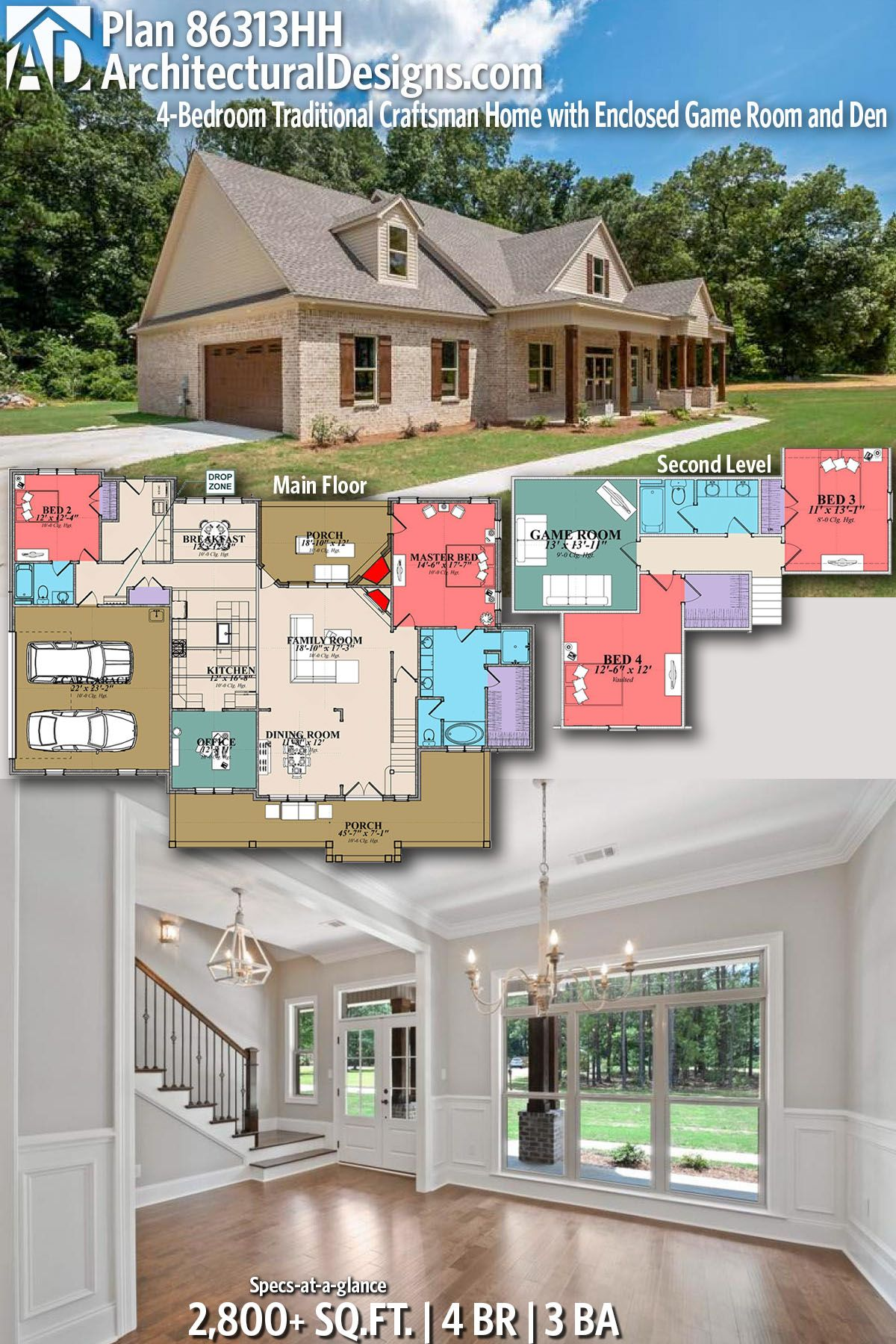 plan 86313hh 4 bedroom traditional craftsman home with enclosed rh pinterest com