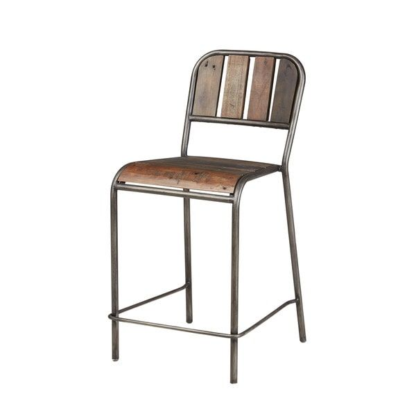 Everett Reclaimed Wood Counter Stool With Back And Gunmetal Frame B A R S T O O L S