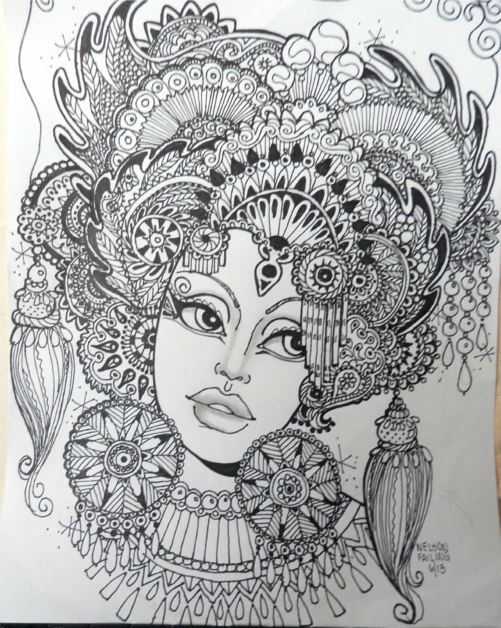 Coloring for adults kleuren voor volwassenen zentangle for Doodle art faces