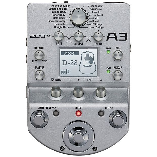 Zoom A3 Acoustic Guitar Preamp And Multi Effect Reverb Effects Pedals Guitar Pedals Acoustic