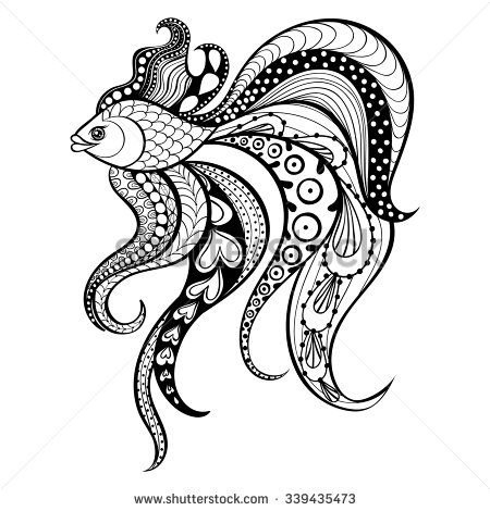 Zentangle vector Gold Fish for tattoo in boho hipster style