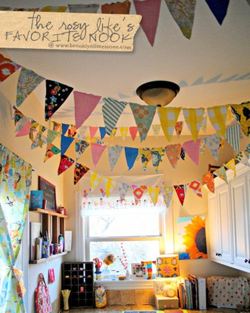 FavoriteNookFeb2013TheRosyLife by MrsLimestone, via Flickr    must do the bunting this way. would go great with quilt on the wall.