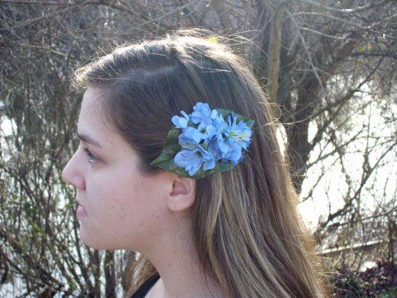 Blue hydrangea French barrette blue flower by LittleBlueBirdSays, $5.00