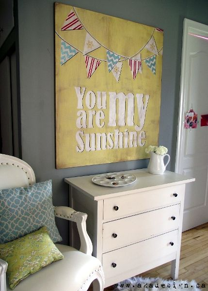 you are my sunshine art. Would be cute for faiths room! Maybe this summer we can do this project.