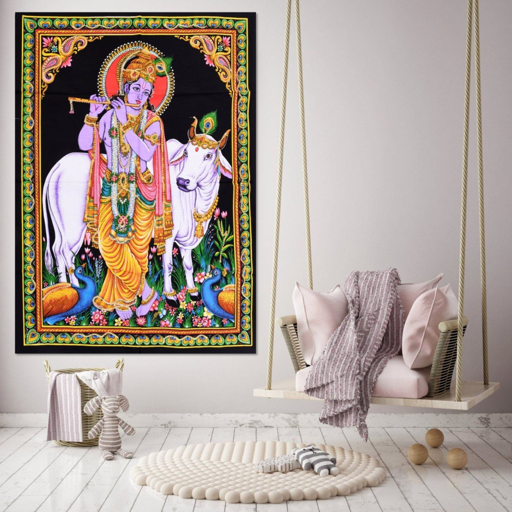 Indian Mandala Skull Printed Cotton Wall Hanging Yoga Mat Decor Poster Tapestry