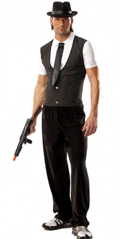 Gangster Costume set includes lycra shirt featuring attached pinstripe vest neck tie and hat. Gun and pants not included.  sc 1 st  Pinterest & The coolest gangster is me have you seen my shoes SLAM fashion show ...