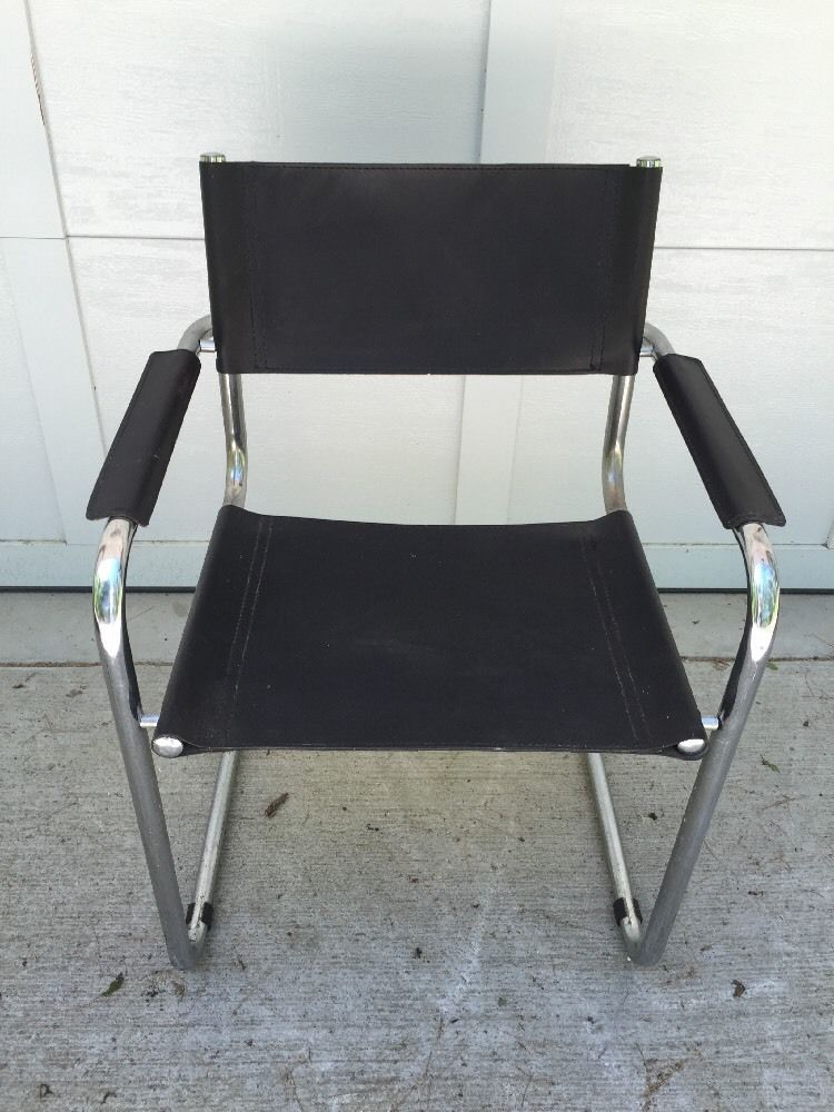 Unsigned Arper Italian Black Leather Chrome Chair Vintage Mid Century Modern