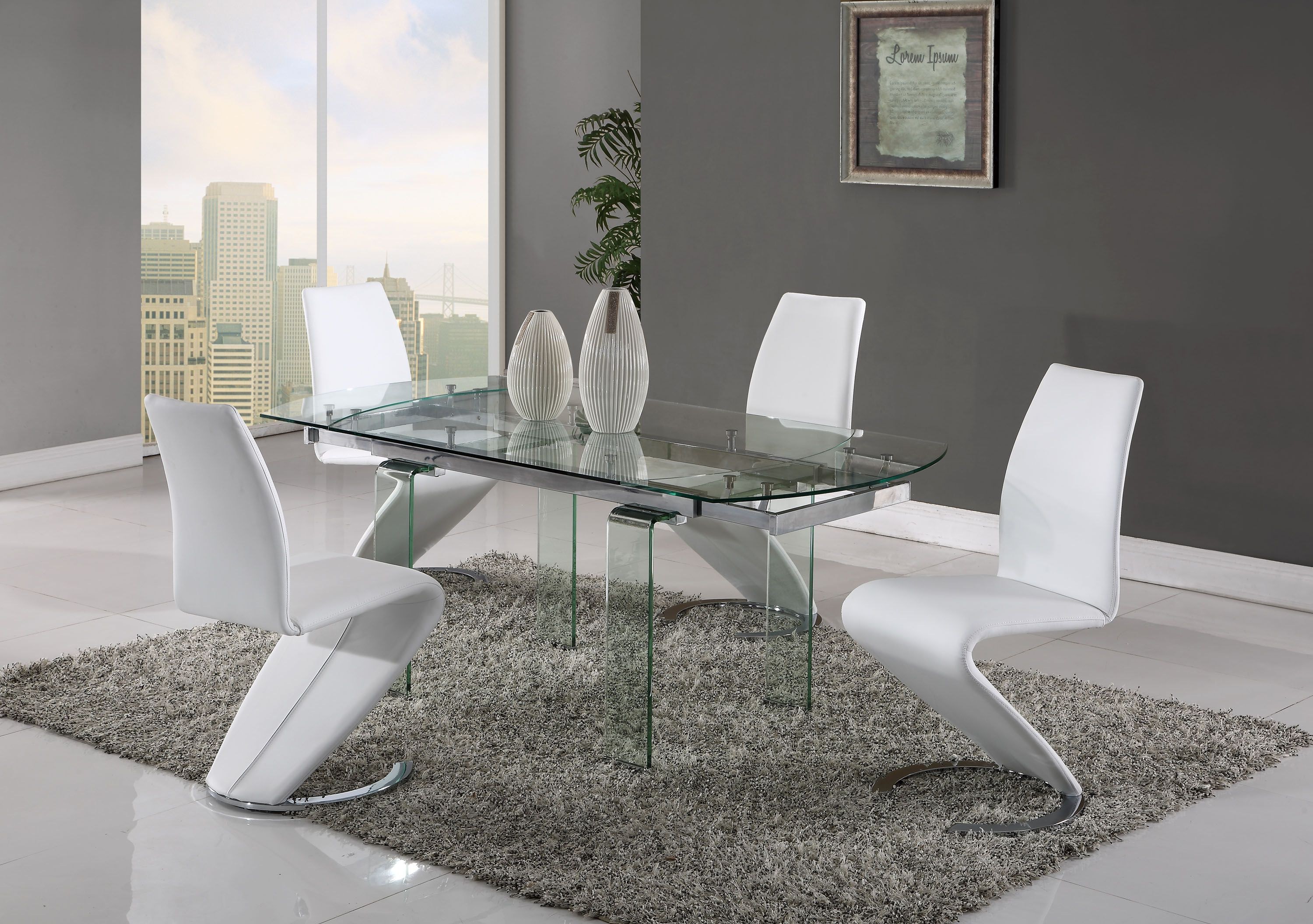 Best Urban Transparent Glass Table With Curved White Leather 400 x 300