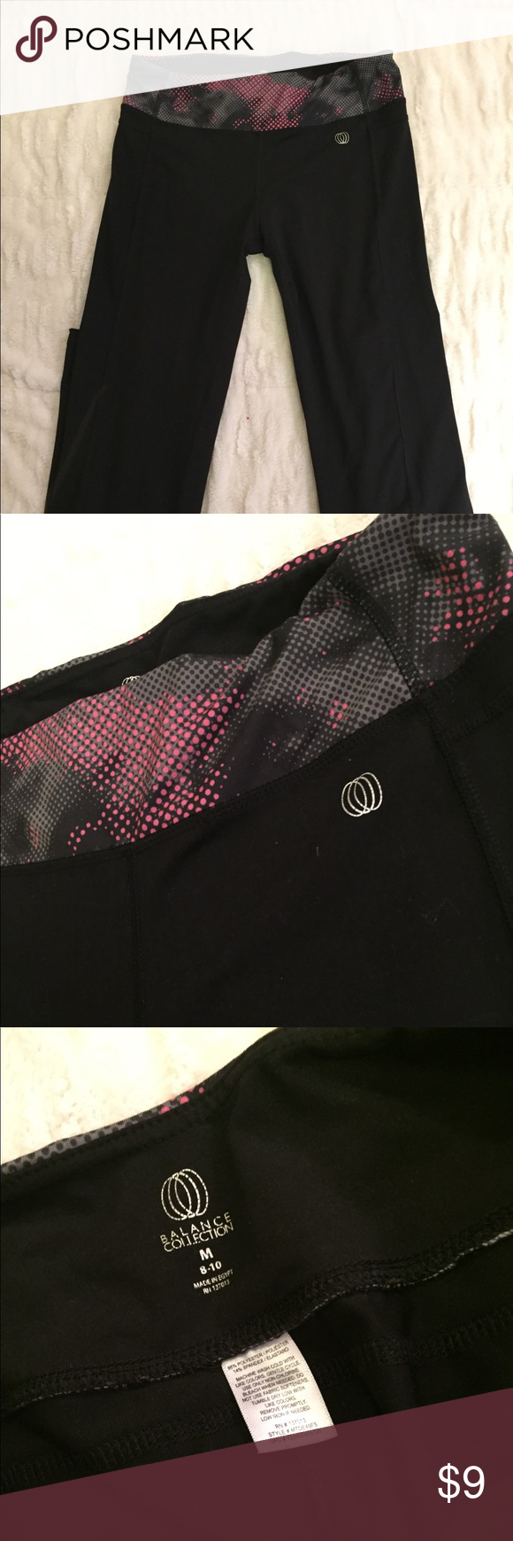 Like New Black and Pink Yoga Pants Size Medium These Like New Black and Pink Yoga Pants Size Medium are the balance collection. They shows no signs of wear, use, marks or stains! Pants Track Pants & Joggers