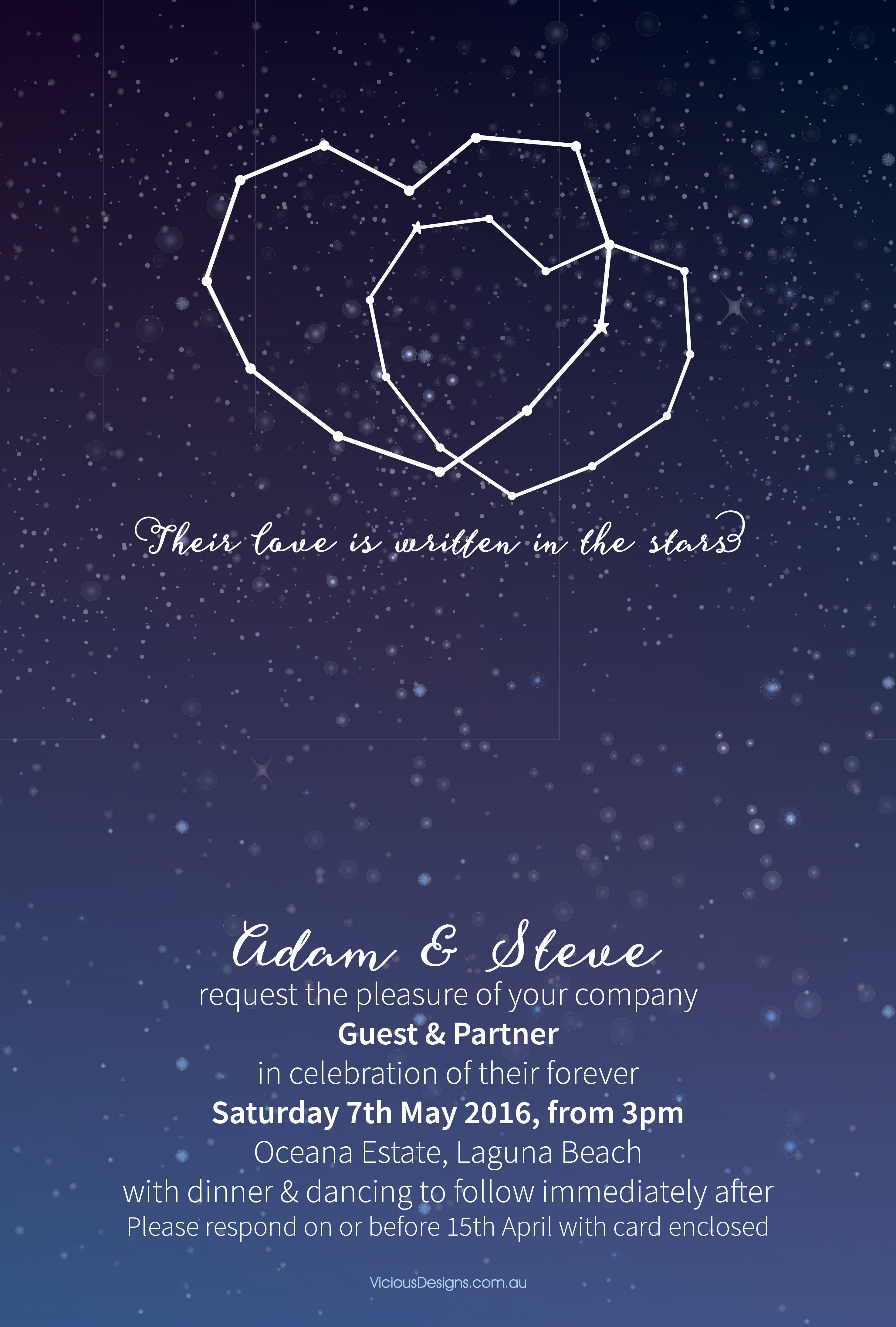 This boldly cute invitation features entwined constellation
