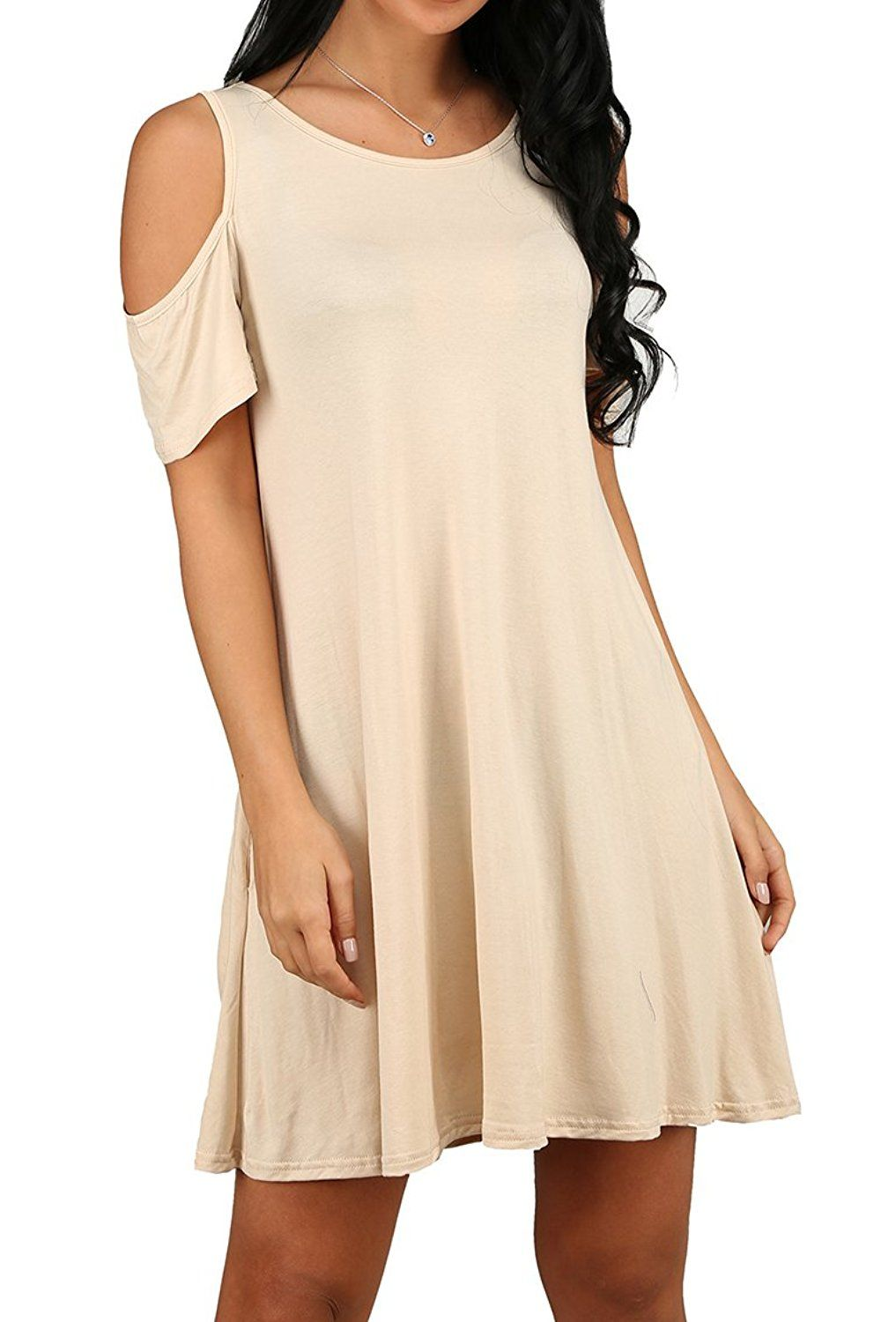 5ce1d509c753 OFEEFAN Women's Cold Shoulder Tunic Top T-shirt Swing Dress With Pockets