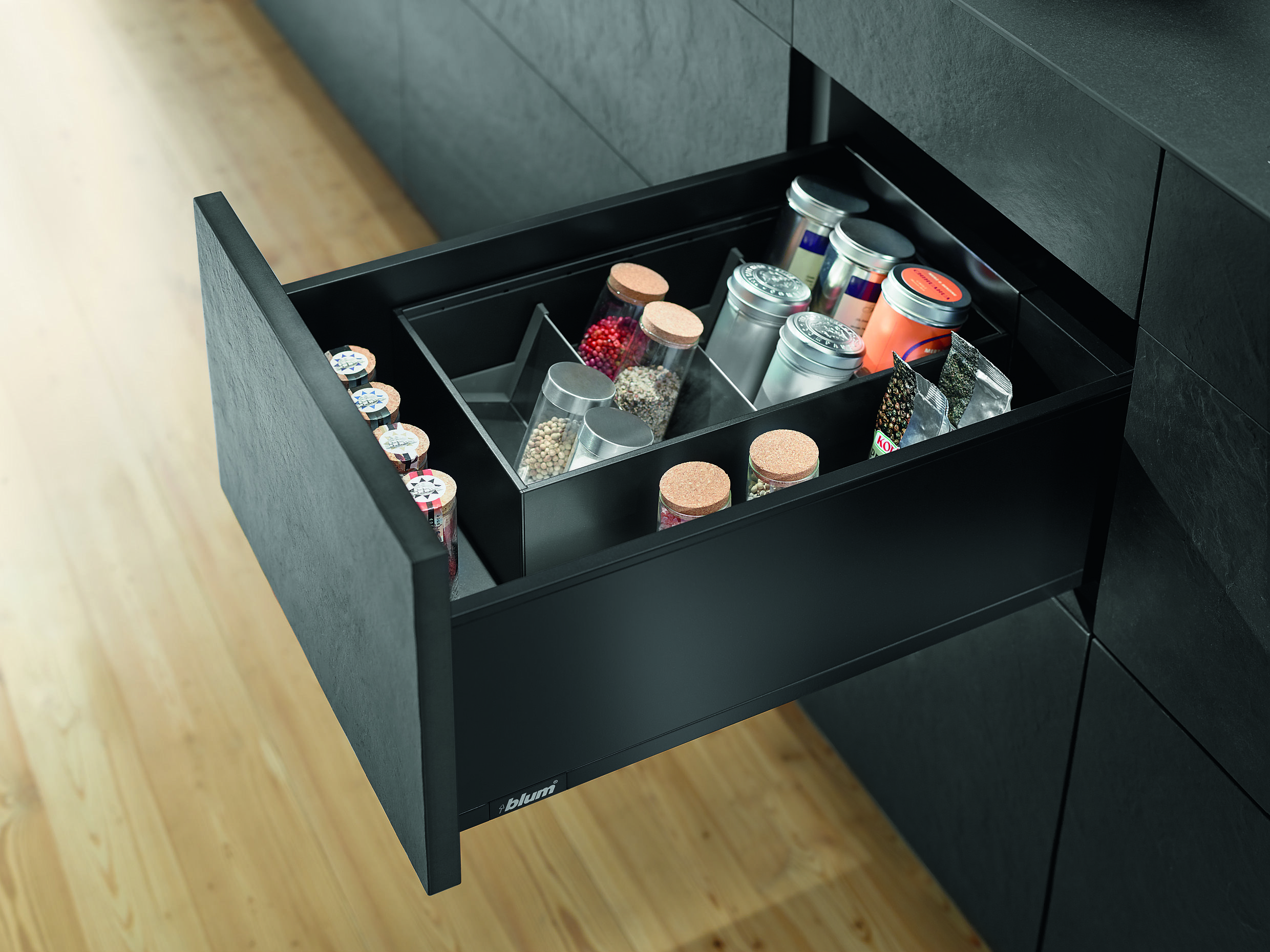 integrated kitchen spice rack from blum blum drawers and hinges rh pinterest com