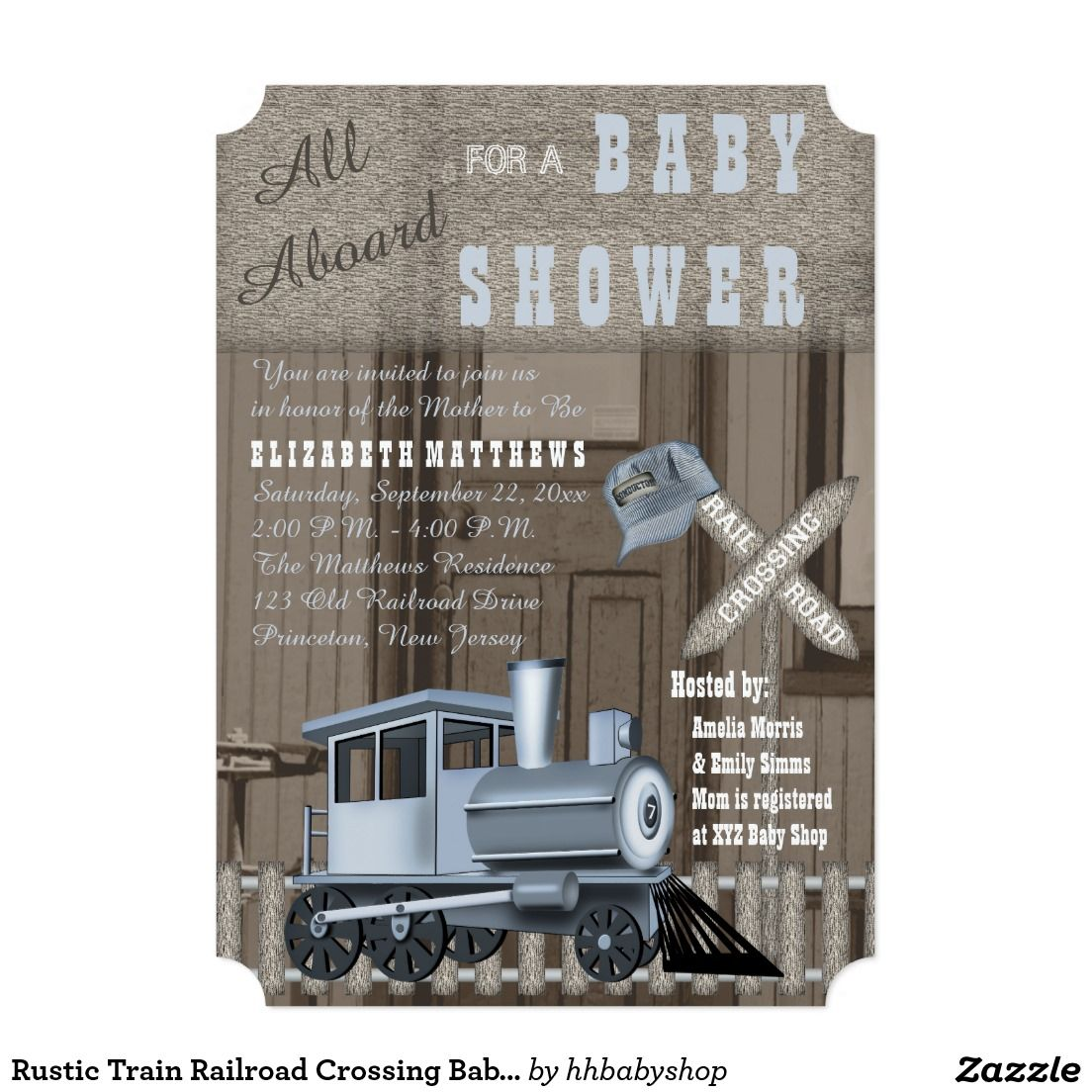 baby shower bbq invitation templates%0A Rustic Train Railroad Crossing Baby Shower  x  Paper Invitation Card