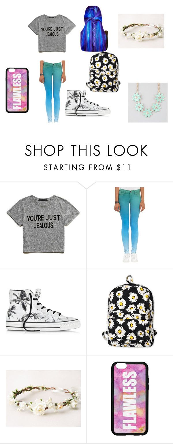 """""""Outfit 1"""" by cutiepiexoxo2002 ❤ liked on Polyvore featuring Forever 21, J Brand, Converse, Motel, Full Tilt, women's clothing, women, female, woman and misses"""
