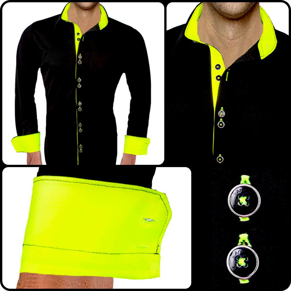 Menus black with yellow dress shirt this dress shirt glows in the