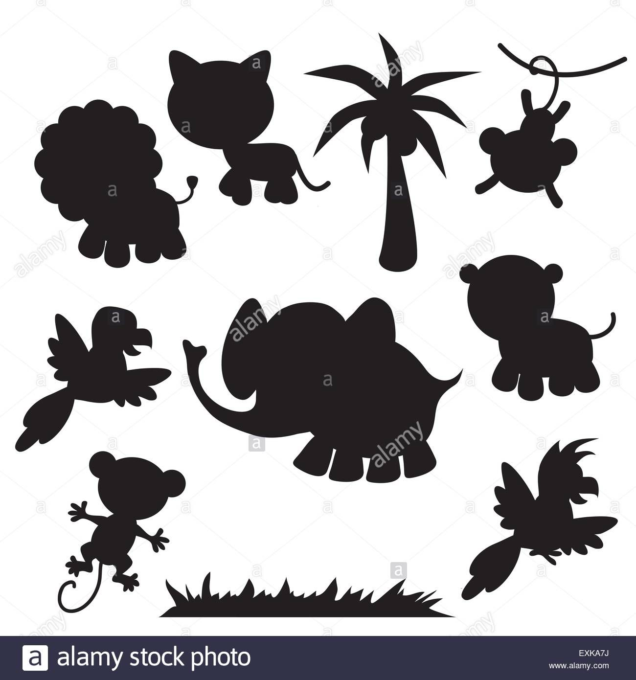 Stock Vector Lion Lioness Elephant Parrot Palm Tree Monkey Cute Animal Jungle Animal Funny Vector Cartoon Jungle Animals Cartoon Illustration Jungle Animals