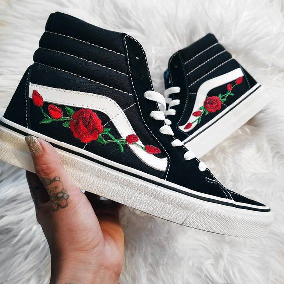 fca581023557 Unisex Sk8-Hi Rose Buds Red Blk Custom Rose Floral Embroidered Patch Vans