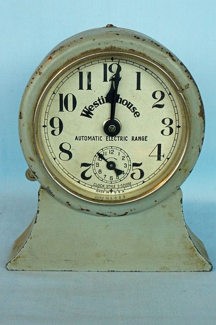 "This old Westinghouse Automatic Electric Range Clock has a patent date of Apr. 27 1920. The style is S-521592. It is 5 1/2"" tall with a 4"" diameter dial.This was a primitive forerunner of automatic oven controls as found on today's stoves, although nowhere nearly as sophisticated. Tin Can Alley www.bagtheweb.com/b/UG8KRi inside the Castle Rock Mercantile Antique Mall 160 H Huntington Avenue N Castle Rock, WA 98611 bagtheweb.com/b/E7Kxc0 Vintage Northwest: bagtheweb.com/vintage"
